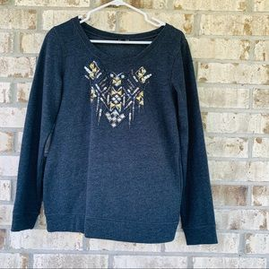 Express embellished gray sweater size S